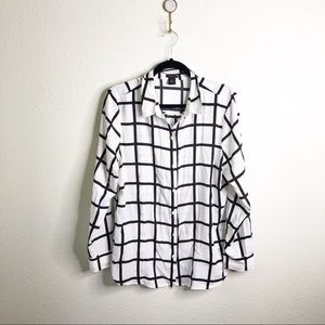 Ann Taylor Window Pane Print Button Up-Sz 16